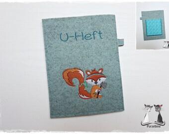 U-Heft Hülle//Untersuchungsheft Namen//Wollfilz Fuchs Sterne Mädchen Junge orange