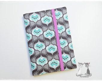 Notebook Case A5-Notebook-Retro Flowers-Flowers-incl. Notebook-Grey mint Pink