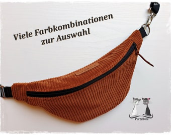Belt bag - belly bag - made of corduroy fabric - made on request - many colours to choose from