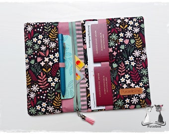 Travel case black flower meadow - Travel case - Passport cover - Ticket cover - Pocket organizer - Organizer - Travel organizer - Holiday planner
