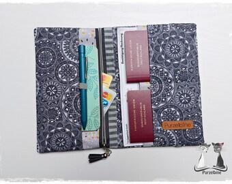 Travel case black grey Mandala - Travel case - Passport cover - Ticket cover - Pocket organizer - Organizer - Travel organizer - Holiday planner