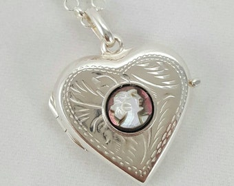 Natural Cameo Locket/Pendant- 6mm Sterling Silver