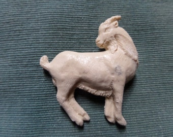 Ivory coloured Resin Goat Brooch