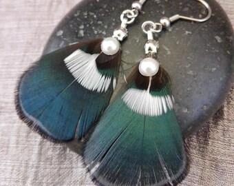 Duck feather earrings.