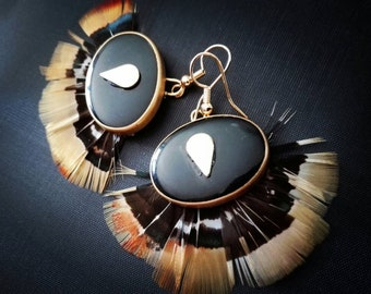 Pheasant feather earrings.