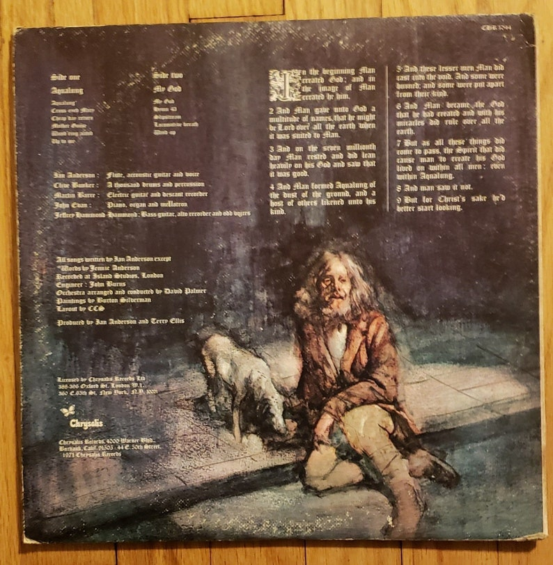 Jethro Tull - Aqualung LP Vinyl Chrysalis Green Label w/ Insert CHR 1044  1971 Ex