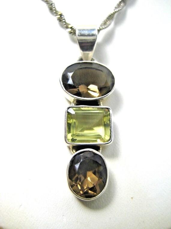 Vintage Citrine Smoky Quartz Necklace Earring Set Sterling Silver