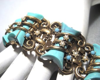 Chunky Retro Vintage Bracelet with Faux Turquoise & Faux Pearls
