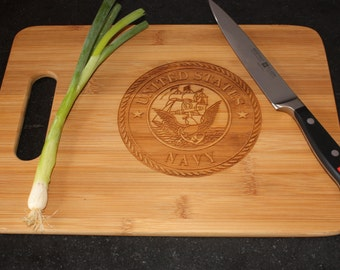 Navy Military Service and Veteran Cutting Board  Grill BBQ Gift