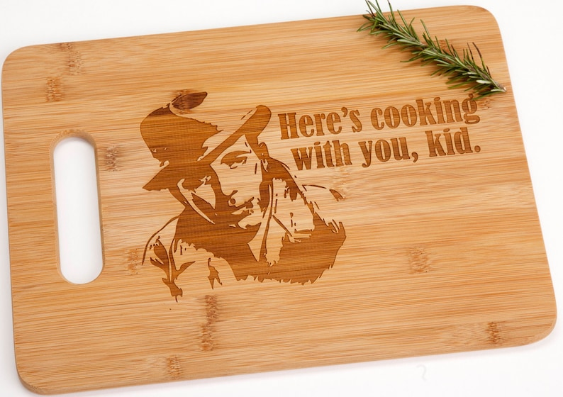 Here/'s Cooking With You Kid Bamboo Engraved Cutting Board Humphrey Bogart Casablanca Funny Romantic Looking Valentine/'s Day Gift