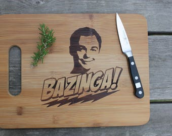 Big Bang Theory Sheldon Bazinga Bamboo Cutting Board - Funny Gift