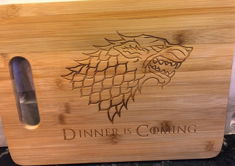 Dinner is Coming Funny Gift House Stark Game of Thrones Sustainable Bamboo Cutting Board