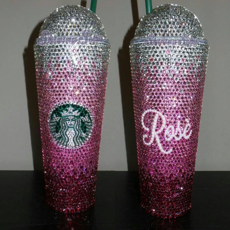 Custom Rhinestone Bling Starbucks Cold Drink Dome or Flat Lid image 0