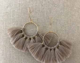 NEW - Tan Fan Earrings