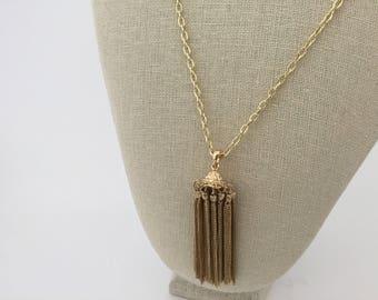 Gold chain tassel necklace