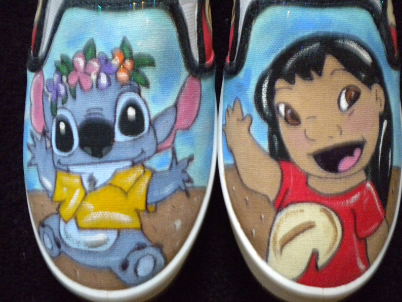 Disney Inspired Lilo and Stitch Women/'s Hand Painted Sneaker