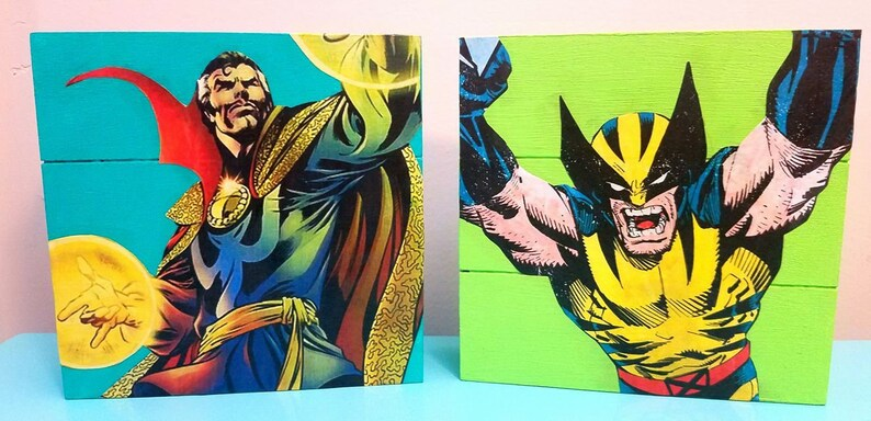 ec6a3b4010ca36 Wood Marvel Comics Home Decor. Perfect for weddings