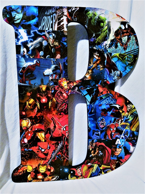 35756ca95bca4c 18 Inch Letter. Marvel Comics Wall Art. Spider-Man Iron Man
