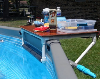 Above Ground POOL SIDE TABLE (Designed For Intex Pools Or Most Metal Frame  Pools.