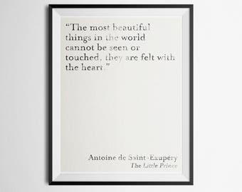 Minimalist Literary Quote Poster Antoine De Saint Exupery The Little Prince Print