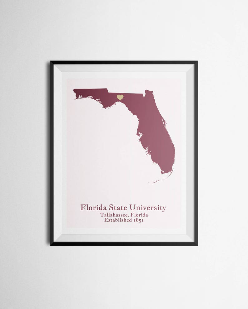 Florida State University FSU, Tallahassee, Florida Map Print Graduation Gift