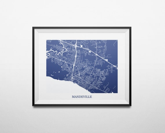 Mandeville Louisiana Map.Mandeville Louisiana Northshore Abstract Street Map Print Etsy