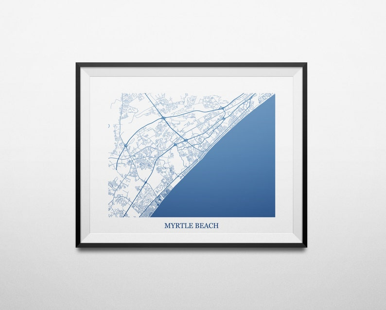 Map of Myrtle Beach, South Carolina SC Abstract Street Map Print Map Ofsouth Myrtle Beach South Carolina on