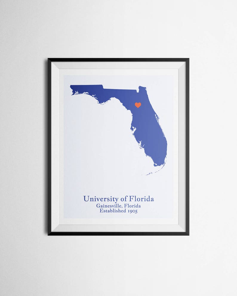 University Of Florida Location Map.University Of Florida Uf Gainesville Florida Map Print Graduation Gift