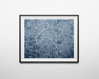 Paris, France Abstract Street Map Print