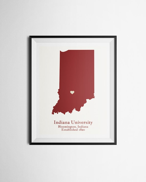 Map Print Of Indiana University Iu Bloomington Indiana Etsy