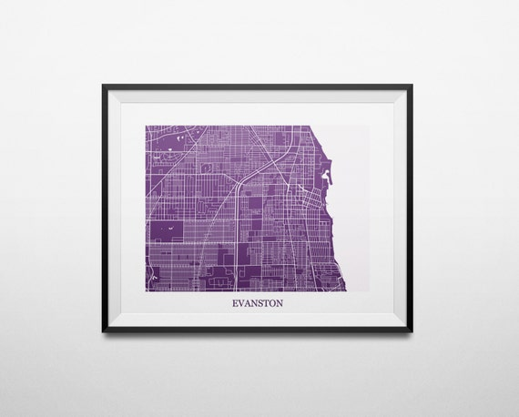 Northwestern University Evanston Campus Map.Evanston Illinois Abstract Street Map Print Etsy