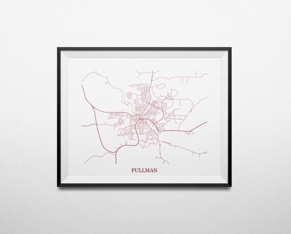 Pullman, Washington State University Dorm Room Art Abstract Street Map Print