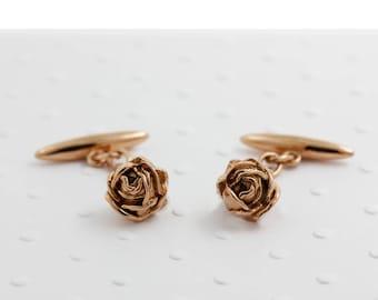 Rose Cufflinks, rose gold cufflinks, wedding cufflinks, groom cufflinks, gold cufflinks, flower cufflinks, gift for groom, valentines gift