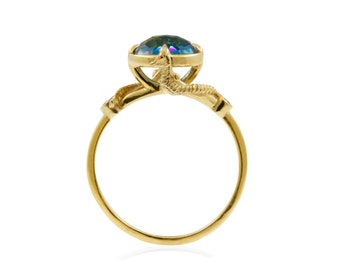5b0eb03f578a30 Seahorse Blue Topaz ring - Silver/Gold, seahorse ring, topaz ring, seahorse  jewelry, statement ring, blue ring, cocktail ring, gift for wife