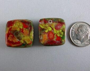 Millennium Garden Square orange bead set