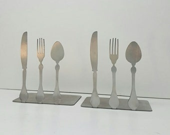 Knife Fork Spoon Metal Bookends  STAINLESS STEEL Available