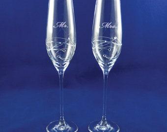 91b981e3a0 Personalized Sparkle Toasting Flute Pair, Barski Crystal Wedding Flutes, Swarovski  Glasses, Custom Flutes, Crystal Flute, Monogrammed Flutes