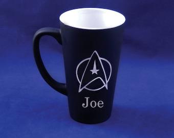 Large Black Personalized Star Trek Mug, Star Trek Mug, Star Fleet Command Mug, Custom Coffee Mug, Personalized Mug, Coffee Mug, Mug (CS036A)