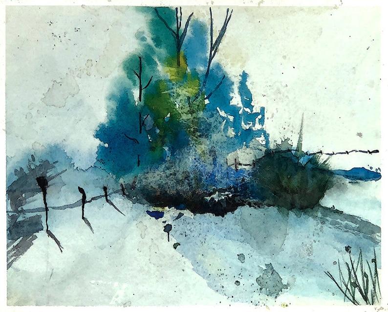 Winter Pond - Original Watercolor Painting by Joy - Digital Download