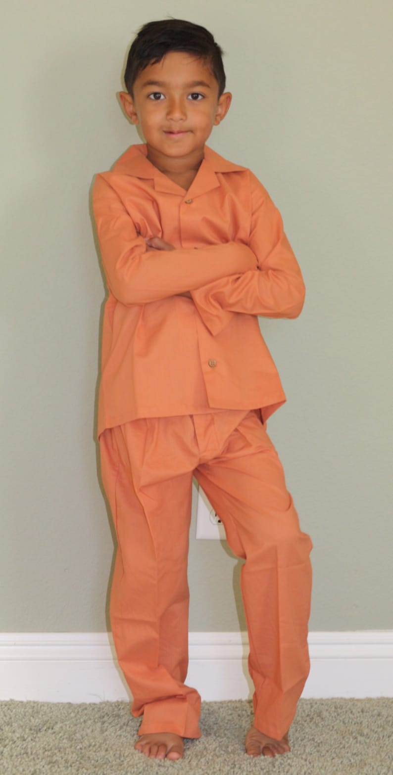 Natural Organic Orange Solid  Halloween Pajama  Fall Pajama