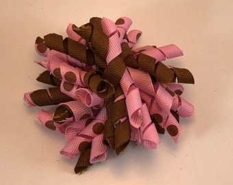Pink and Brown Dot Korker Hair Bow