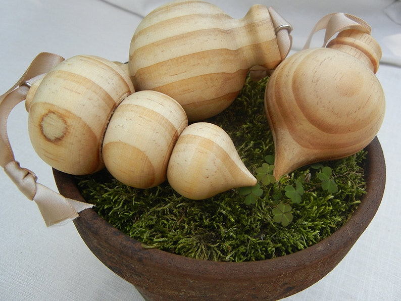 Wood Turned Natural Christmas Ornaments Set of 3 | Etsy