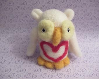 White Owl, Owl Figure, Handmade Bird, Felted Owl