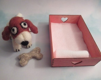 Beagle With Bed, Dog Lover Gift, Handmade Puppy