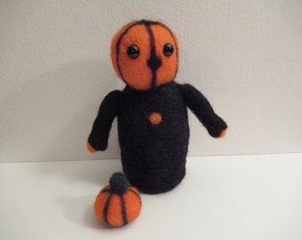 Halloween Doll, Felted Pumpkin, Handmade Plush, Pumpkinhead