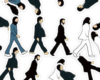 The Beatles Abbey Road Cartoon Stickers Decal Prints Wall Arts