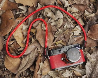 Premium Leather Lambskin Camera Neck Strap: 9mm Core Rope 105cm, 125cm, Red, Black, Black/Red, Grey