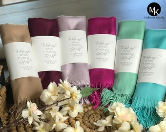 8 Pashminas - Personalized Shawl - Bridesmaids Gifts - Wedding Favors - Customized Scarves - Scarf -Gift Ideas - Winter Weddings