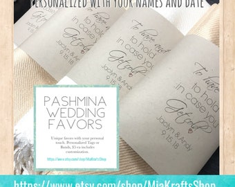 Pashminas -90 pcs - handmade any color - includes personalized tag/band - Pashmina -pashmina shawl - pashmina as a favor -  pashmina