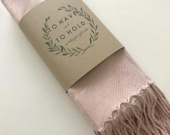 Pashmina scarf blush - blush bridesmaid's gift - blush bridesmaid scarf - blush wedding shawl - light pink party favors - pink wedding shawl